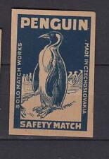 Ancienne   étiquette allumettes Tchécoslovaquie AB2 Pingouin  Oiseau