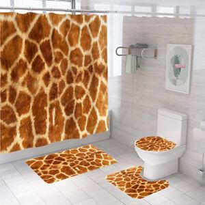 Leopard Shower Curtain Bathroom Rug Set Thick Bath Mat Non-Slip Toilet Lid Cover