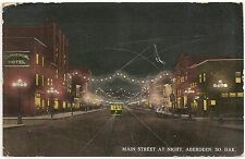 Main Street at Night in Aberdeen SD Postcard 1915
