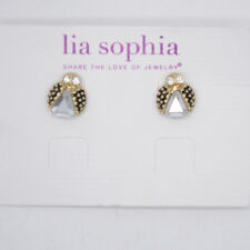 lia sophia jewelry matte gold plated ladybug cute stud earrings cut crystals
