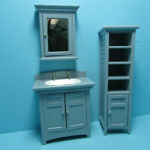Dollhouse Miniature Wood Bathroom Medicine Cabinet with Mirror in Grey CLA10995