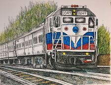 COMMUTER TRAIN - US, Small, Art Reproduction, Artist, Ink, Realism, Train
