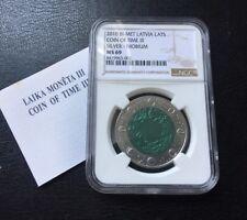 2010 Latvia Coin of Time III Silver Niobium coin NGC MS69 Tiny Spot