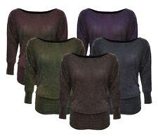 Womens Plus Size Off Shoulder Lurex Sparkle Batwing Party Festive Glitter Top