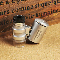 Handgerät Tasche Mikroskop Lupe Juwelier Silber Vergrößerungsglas Mit LED L3M1