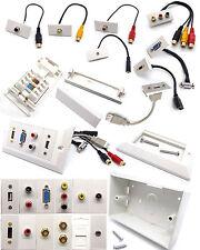 Network Modular Wall Face Plate Module Stub - HDMI VGA USB AV RCA 3.5mm Jack Lot