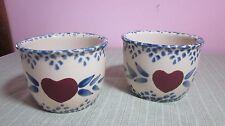 Vintage Custard Cup Ramekin Pair White Blue Speckle Spatter Red Heart Valentine
