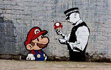 "Banksy, Super Mario, 16""x24"", Graffiti Art, Canvas Print"