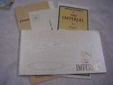 1982 CHRYSLER IMPERIAL  NICE  ORIGINAL OWNERS MANUAL