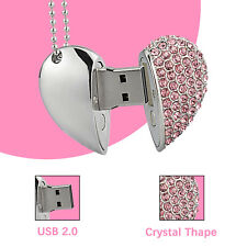 32GB Crystal Heart USB 2.0 Flash Drives Heart-shaped Memory Stick Storage Disk
