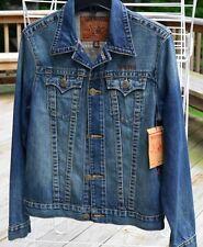 NWT True Religion Men's S Jean Denim Jacket Danny Slim Fit Trucker Leather Logo