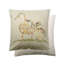DOS Patos Colorido Pájaros 100% Algodón Artístico Marrón Verde Funda De Cojín