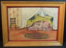 Folk Art Painting of a Nude and Pussycat in a New England Interior
