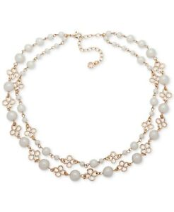 """Anne Klein Gold-Tone Imitation Pearl Double-Row Collar Necklace 13"""" + 3"""" Extende"""