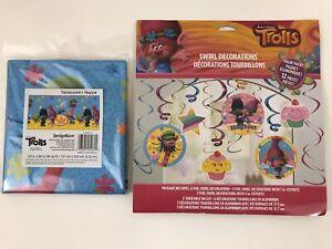 Trolls Plastic Table Cover & Trolls 12 Piece Foil Swirl Decorations Party Favors