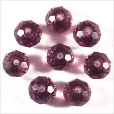 20 perles à Facettes Rondelles 6 x 4 mm en Cristal Améthyste