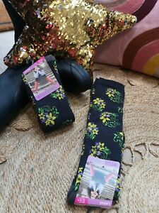 FUN NOVELTY FLORAL D. GREY LONG WELLY BOOT SOCKS 1 Pair Warm Cosy Soft Size4-7