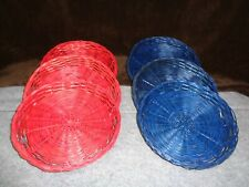 SET OF 6  RED & BLUE WOVEN WICKER RATTAN PAPER PLATE HOLDERS FOR PICNIC/CAMPING