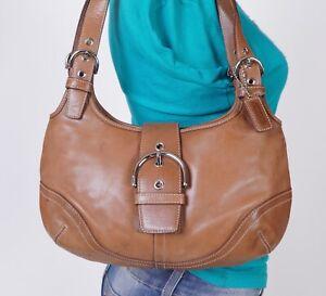 COACH SOHO Medium Tan Leather Shoulder Hobo Tote Satchel Purse Bag