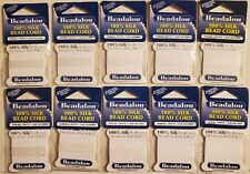 Pack of 10 Beadalon® 100% Silk Bead Cord White Sz 2 & 4 w/ Needle 2m/6.5ft Opt4