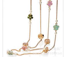 Collier Sautoir Long Lucky Email Fleur Trèfle Fin Multicolore Rouge Jaune XXF 1
