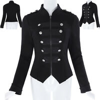 Womens Lady Black Steampunk Emo MCR Punk Gothic Military Coat Jacket Parade Tops