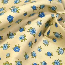 """36"""" W Vintage Cotton Floral Fabric, Small Blue Roses on Cream. Per 1/2 Yd"""