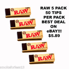 5 Packs of RAW Rolling Paper Tips Filter Spacer CHEMICAL FREE (50 Sheets per pk)