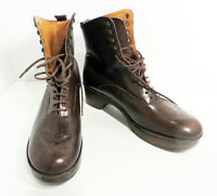 Vintage Robert Clergerie County Boots Leather Brown Lace Up S 8.5 Made in France