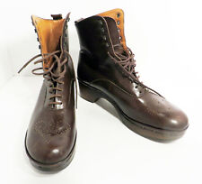 Vintage Robert Clergerie County Boots Leather Brown Lace Up S 6.5 Made in France