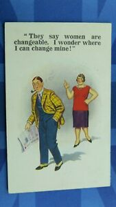 Saucy Donald McGill Comic Postcard 1932 THEY SAY WOMEN ARE CHANGEABLE , I WONDER