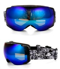 Brand Mens Blue Mirrored Ski Snow Board Goggles Polarized UV Anti-Fog Dual Lens