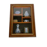 Oriental Asian Shadow Box Art W/ Blue & White Dishes Books Items Can Be Changed