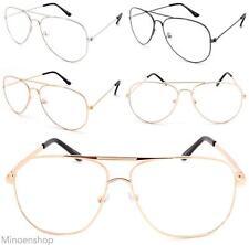 Promi Gold durchsichtige Linse Chelsea Tropfen Pilot Brille Sonnenbrille VTG