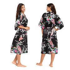 Silk Satin Long Bath Robe Kimono Bridal Wedding Dressing Gown Sleepwear Bathrobe