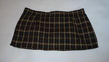 "10 1/2"" Length Vintage Style Micro Mini Skirt Brown Tweed-Look Check Sze 10 - 12"