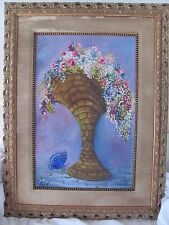 Lalena Vann oil painting flower basket gold frame purple blue pink butterfly