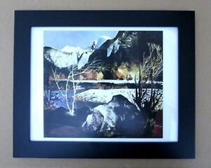 Vintage Art Print Yosemite Peter McIntyre Snow Capped Mountains Trees FRAMED