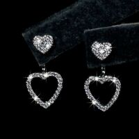 18k white gold made with SWAROVSKI crystal love heart ear jacket stud earrings