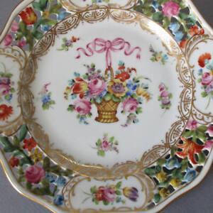 Antique DRESDEN HP Porcelain Reticulated Plate FLOWER BASKET w Pink BOW * Thieme