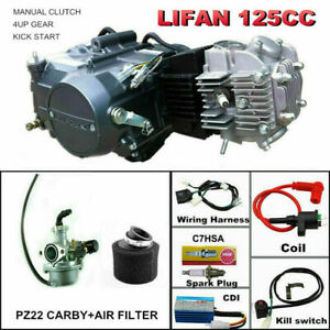 LIFAN 125cc manual Engine motor + Wiring harness + Carby + air filter kit
