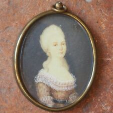 authentique Miniature  D'une DAME DE QUALITE en DENTELLES  époque louis XVI