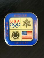 Vintage Collectible USA Olympics Swifter Stronger Colorful Metal Pinback Hat Pin