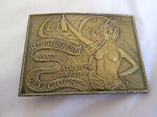 Coca Cola Naked Lady Advertising Brass Plated Belt Buckle  Atlanta GA U.S.A.