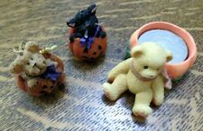 Boyd's Bear Mini Halloween Pumpkins Cat Bear Ornaments, Cherished Teddies Candle