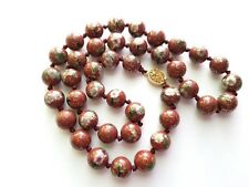 CHINESE CLOISONNE NECKLACE  HAND KNOT  BROWN PINK FLOWERS ENAMEL