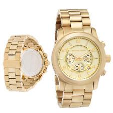 New Michael Kors MK8077 Men's Runway Oversized Gold Chrono Watch 45mm Unisex