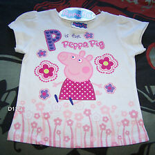 Peppa Pig Girls White Printed Short Sleeve T Shirt Size 3 New Genuine Licensed
