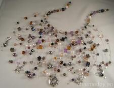 OOAK Multi-Dimensional CRYSTAL & PEARL Branch Necklace PAGEANT FORMAL DANCE PROM