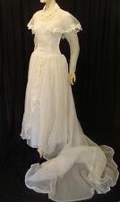 "40s VINTAGE AMAZING EMMA DOMB ""PARTY LINES"" WHITE NET WEDDING DRESS w VEIL S"